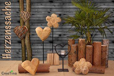 Herz aus Naturholz, unbehandelt und rustikal auf einem Metallfuss, 40 ...