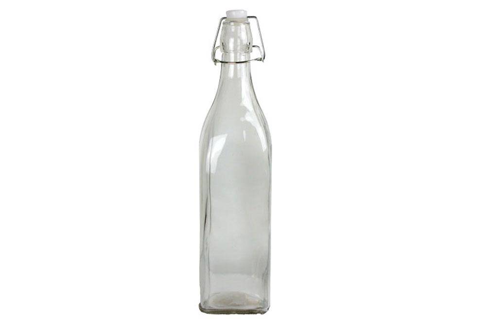 glasflasche mit b gelverschluss und kunststoffstopfen in wei 30 cm hoch creatina. Black Bedroom Furniture Sets. Home Design Ideas