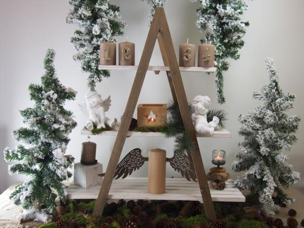 regal leiter in wei antik mit 3 b den aus holz 104 cm hoch ebay. Black Bedroom Furniture Sets. Home Design Ideas