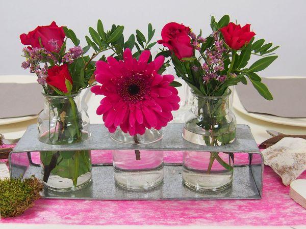 Creatina Tischdeko Box Als Set Think Pink Mit Vasenset