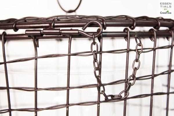 Creatina Metallkorb Mit Glasvase 2 Teilig Zum Hinstellen