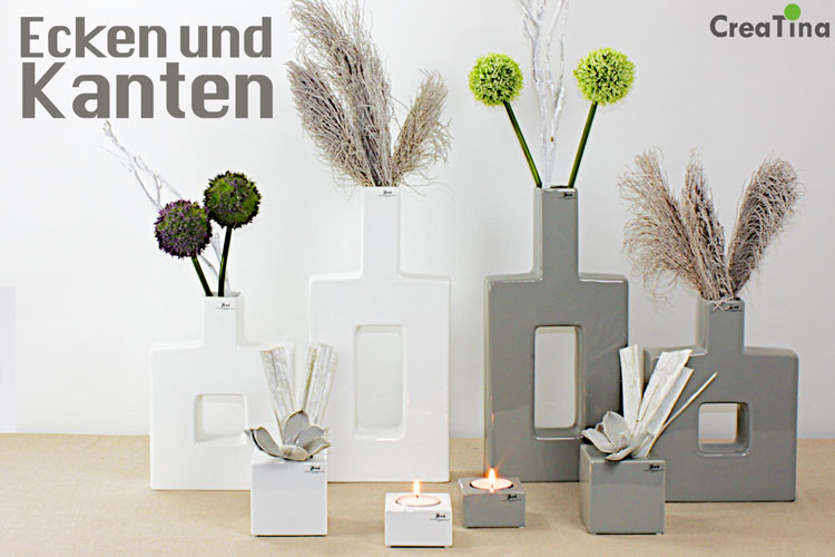 creatina vasen und teellichthalter aus keramik von bob. Black Bedroom Furniture Sets. Home Design Ideas