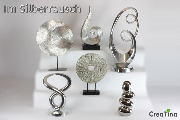 creatina skulpturen und vasen in der farbe silber edle. Black Bedroom Furniture Sets. Home Design Ideas