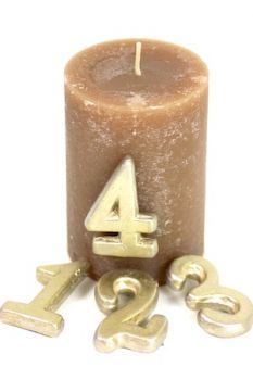 "Zahlenset ""Advent"" 1-4 in gold Keramik, 5 cm groß"