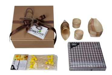 "Fingerfood Set ""Natur Pur"", 100 Teile in der Deko Box mit Rezept"