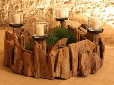 creatina adventskranz aus teakholz mit glaszylindern ca 60 cm im durchmesser. Black Bedroom Furniture Sets. Home Design Ideas