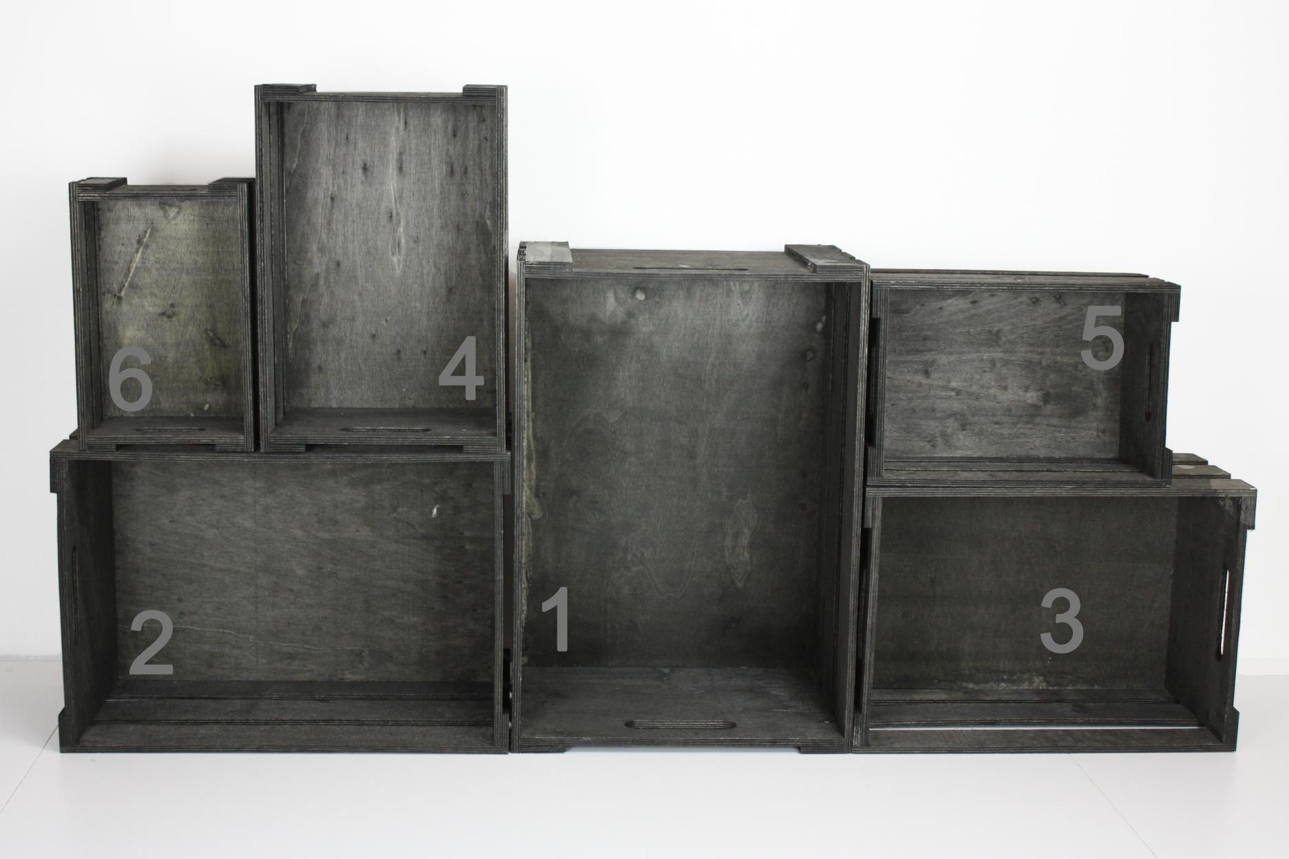 CreaTina. Holzkiste in der Farbe schwarz antik in verschiedenen Größen