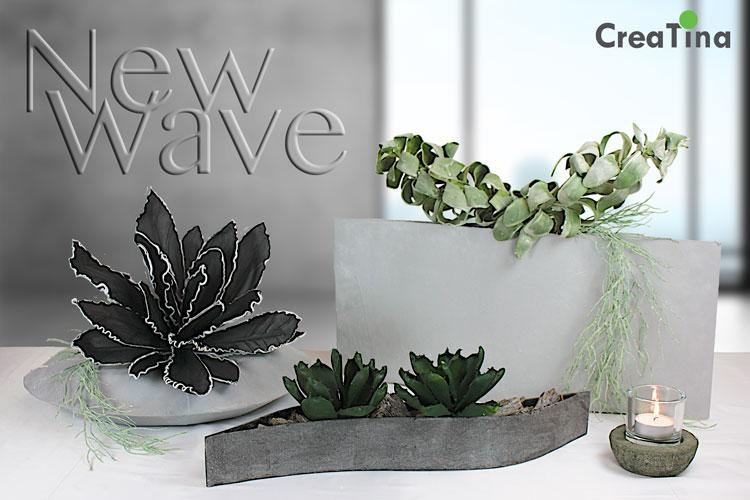 creatina vase modern in der farbe grau dekoriert mit tillandsie und 2 agaven 32 cm hoch. Black Bedroom Furniture Sets. Home Design Ideas