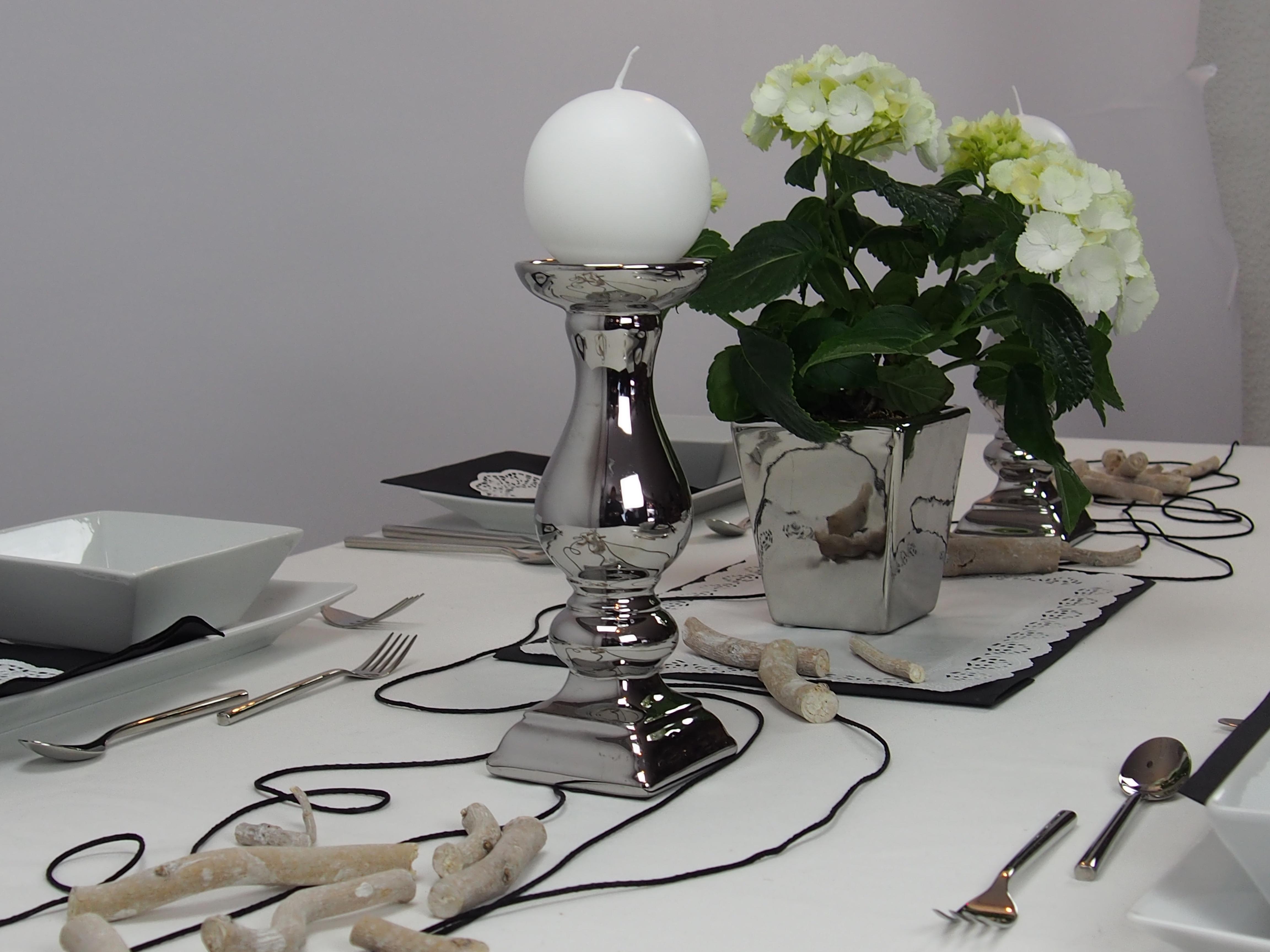 Creatina tischdeko box silber als set kontrast reich f r 8 10 personen 19 teilig - Tischdeko silber ...