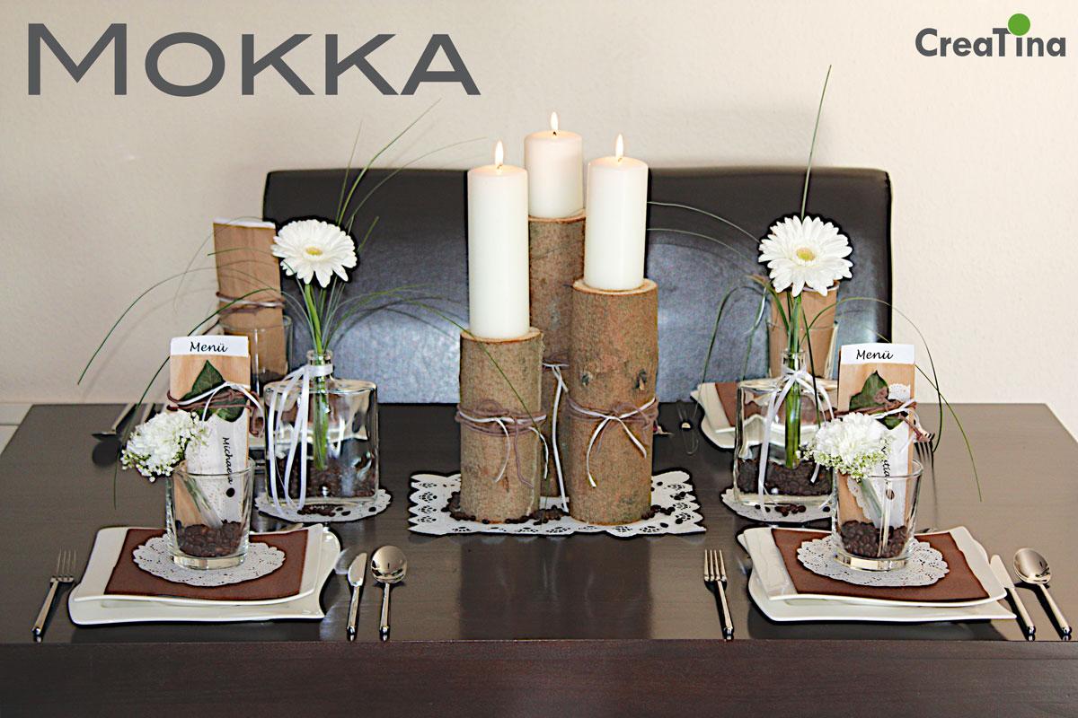 creatina tischdeko box als set mokka in braun f r 4 personen mit dekoanleitung. Black Bedroom Furniture Sets. Home Design Ideas