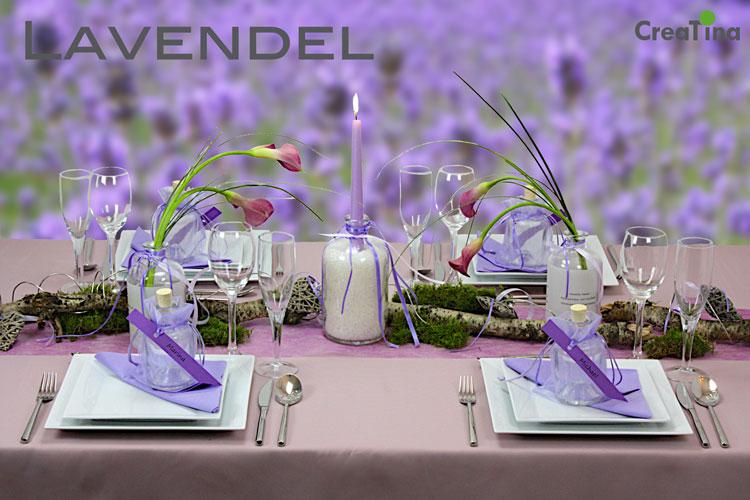 Creatina tischdeko box als set lavendel f r 4 personen mit dekoanleitung - Tischdeko lavendel ...