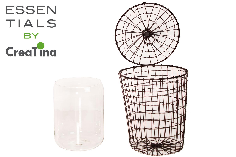 creatina metallkorb mit glasvase 2 teilig zum hinstellen und aufh ngen. Black Bedroom Furniture Sets. Home Design Ideas
