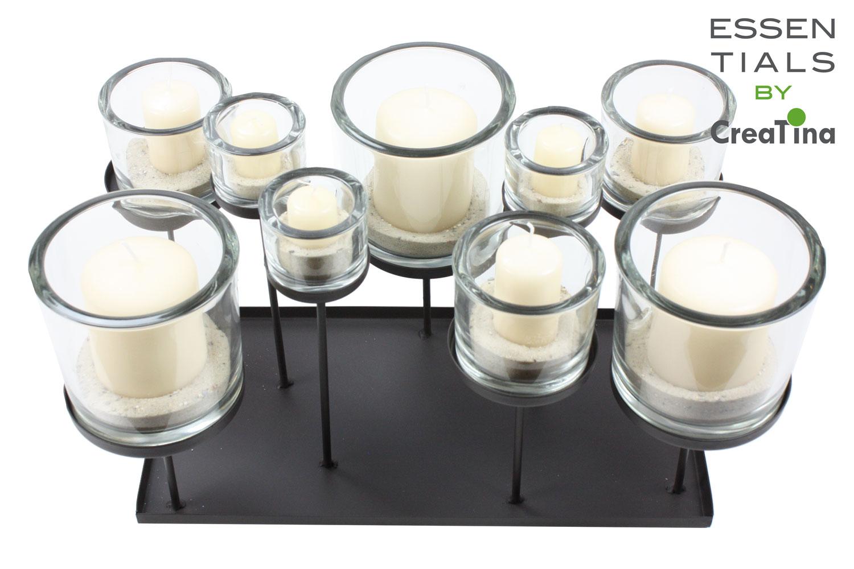 creatina windlicht aus metall mit 9 zylindern aus glas 30 cm hoch. Black Bedroom Furniture Sets. Home Design Ideas