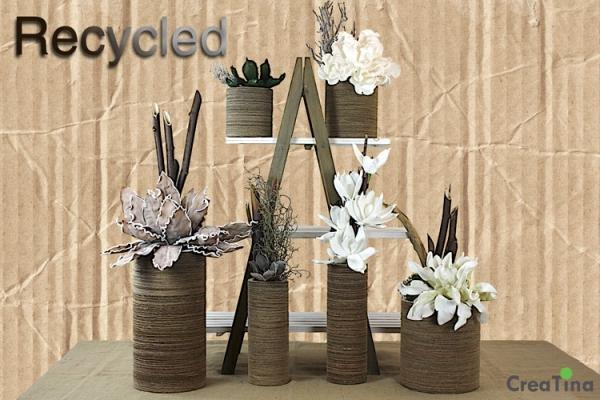 creatina vase aus recycelter pappe innen gummiert fertig dekoriert 44 cm hoch. Black Bedroom Furniture Sets. Home Design Ideas