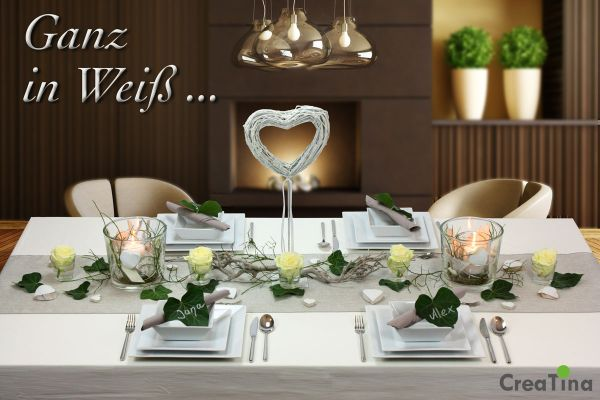 creatina tischdeko box hochzeit als set ganz in wei f r 8 10 personen 38 teilig. Black Bedroom Furniture Sets. Home Design Ideas
