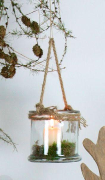 creatina windlicht aus glas mit kordel 10 cm hoch. Black Bedroom Furniture Sets. Home Design Ideas